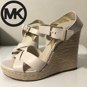 Michael Kors Leather Giovanna Wedge Sandal White